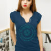 Tricou nasturi albastru cu motivul Draconul Dacic cu simbola solar