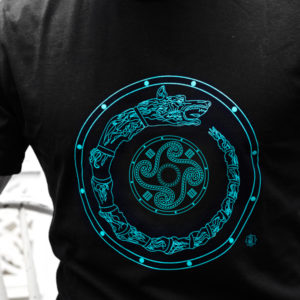 tricou barbati motiv dacic dracon cu simbol solar negru