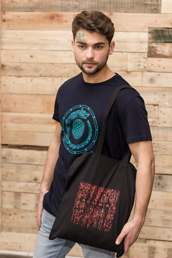 tricou barbati motiv dacic lup floarea vietii bleomarin