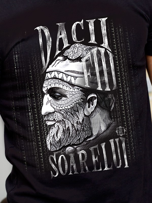 Tricou negru dacii fiii soarelui detaliu