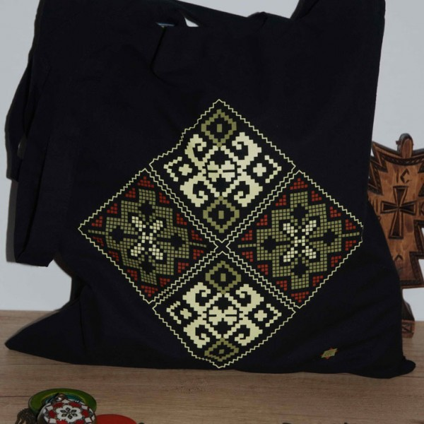 Traista cu motive traditionale bucovinene coarnele berbecului