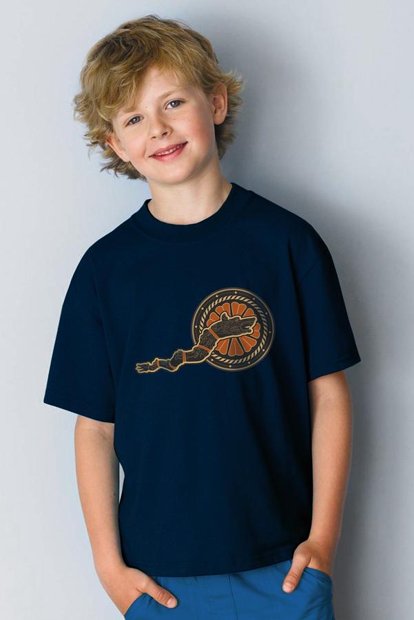 Tricou bleoamarin cu draconul dacic pentru copii