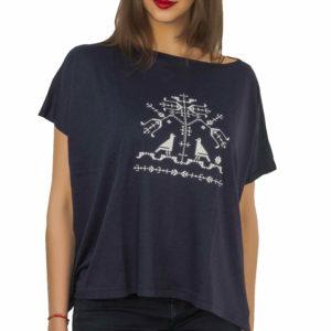 Bluza larga bleumarin model copacul vietii
