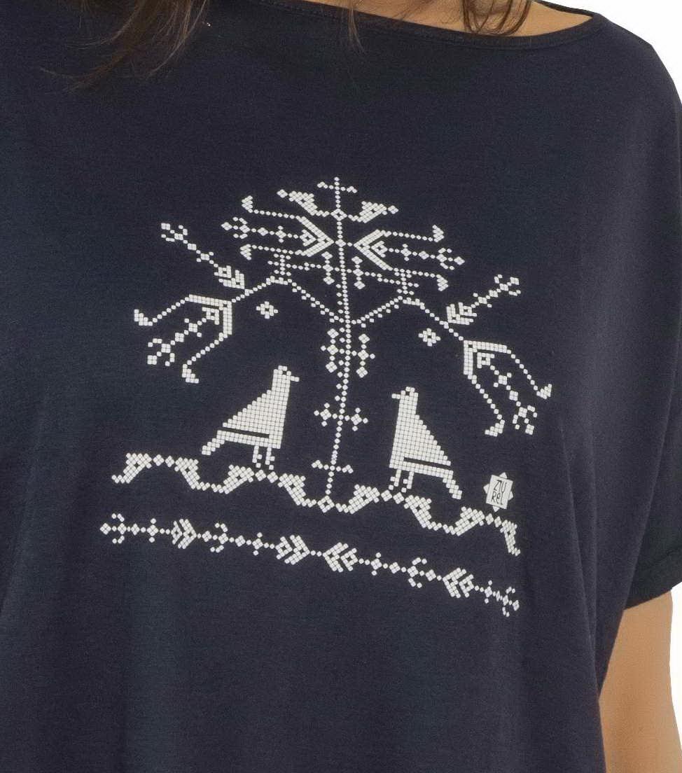Bluza larga bleumarin model copacul vietii detaliu