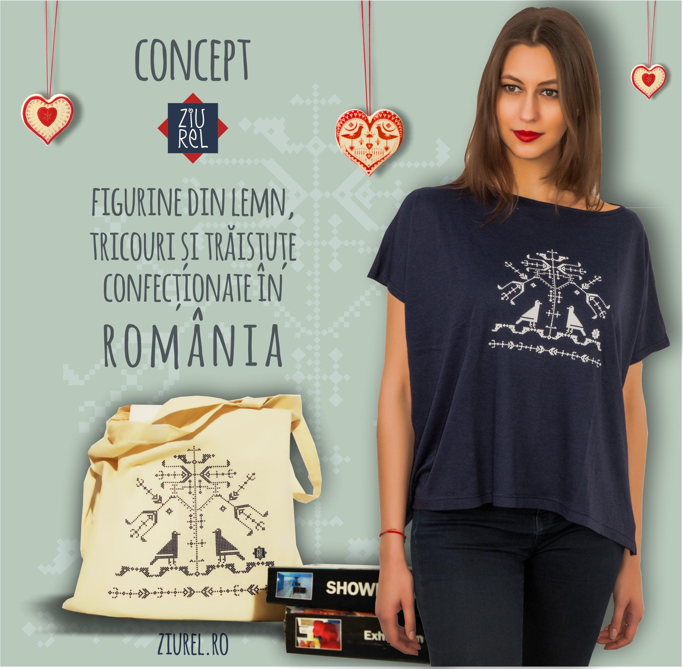 Bluza larga bleumarin model copacul vietii si traista Copacul vietii